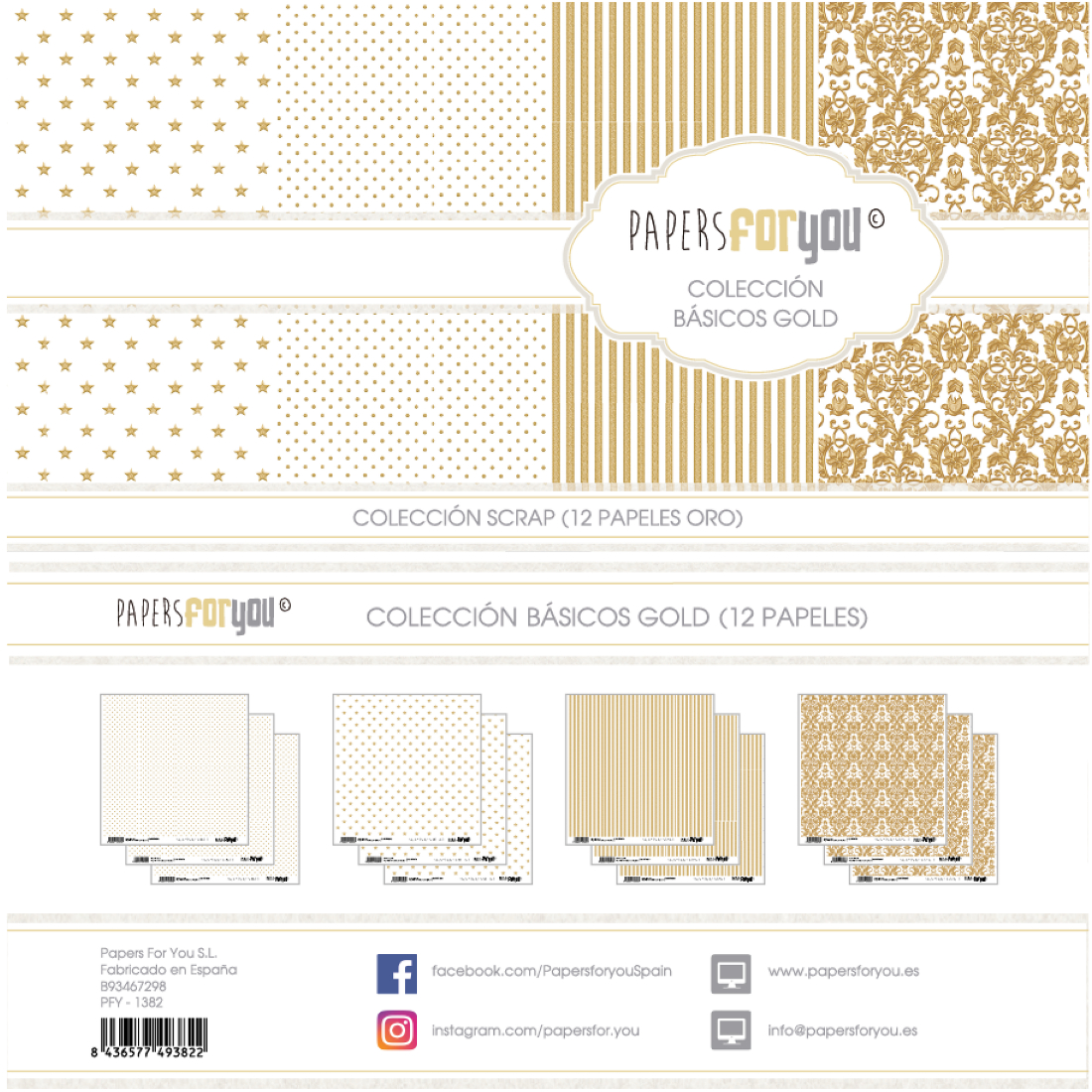 Bloco Papel Scrapbooking Basics Gold PFY-1382 papersforyou