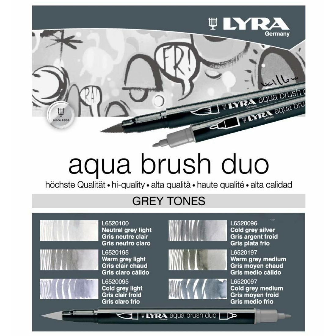 Marcadores Aqua Brush Duo Tons Cinzas lyra