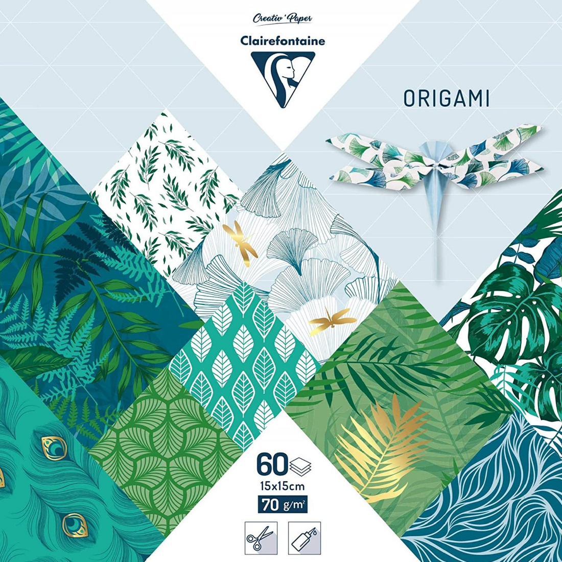 Papel Origami Green Chic clairefontaine